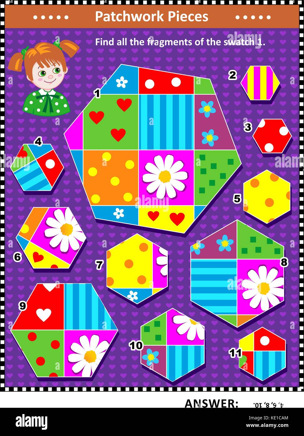 Quilting or patchwork themed IQ training visual puzzle (suitable both for kids and adults): Find all the fragments - Stock Image
