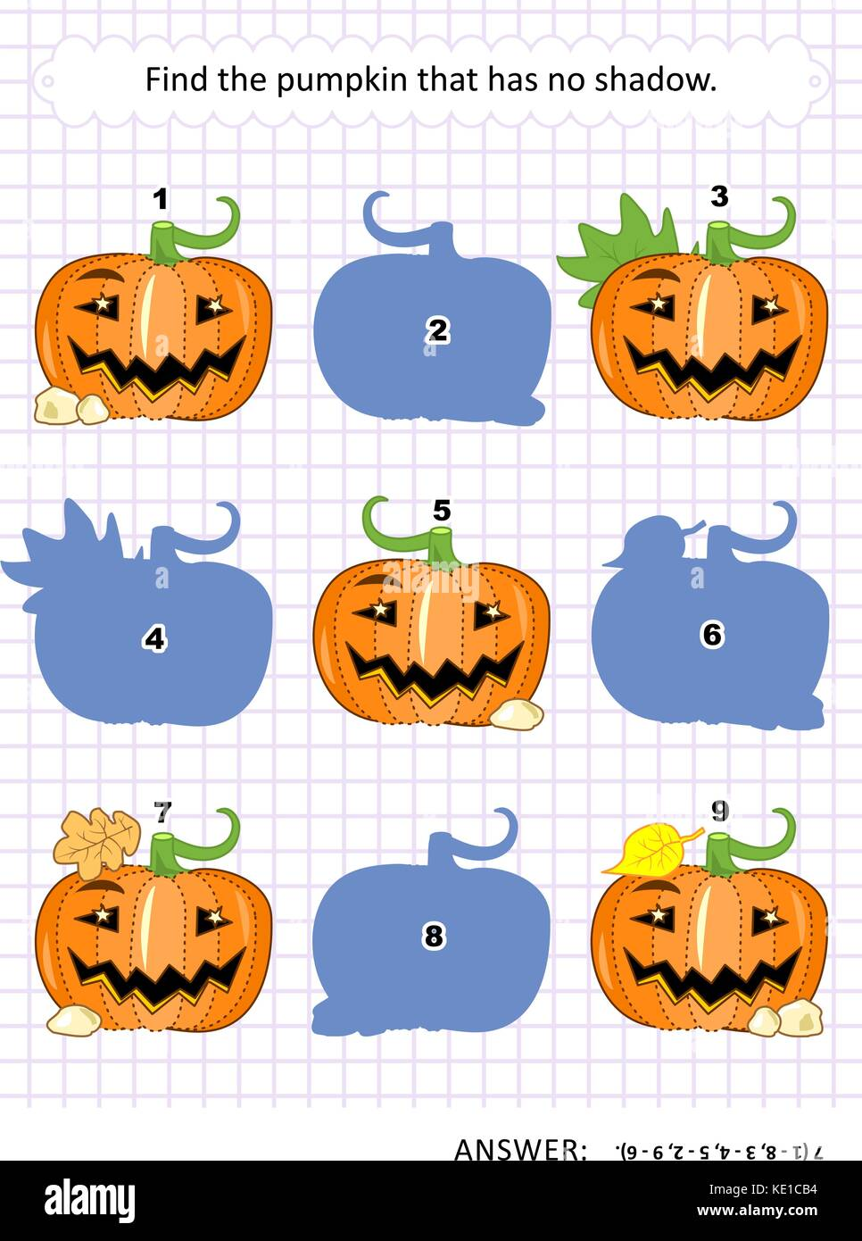 Halloween themed visual puzzle or picture riddle: Find the pumpkin that has no shadow. Answer included. - Stock Image