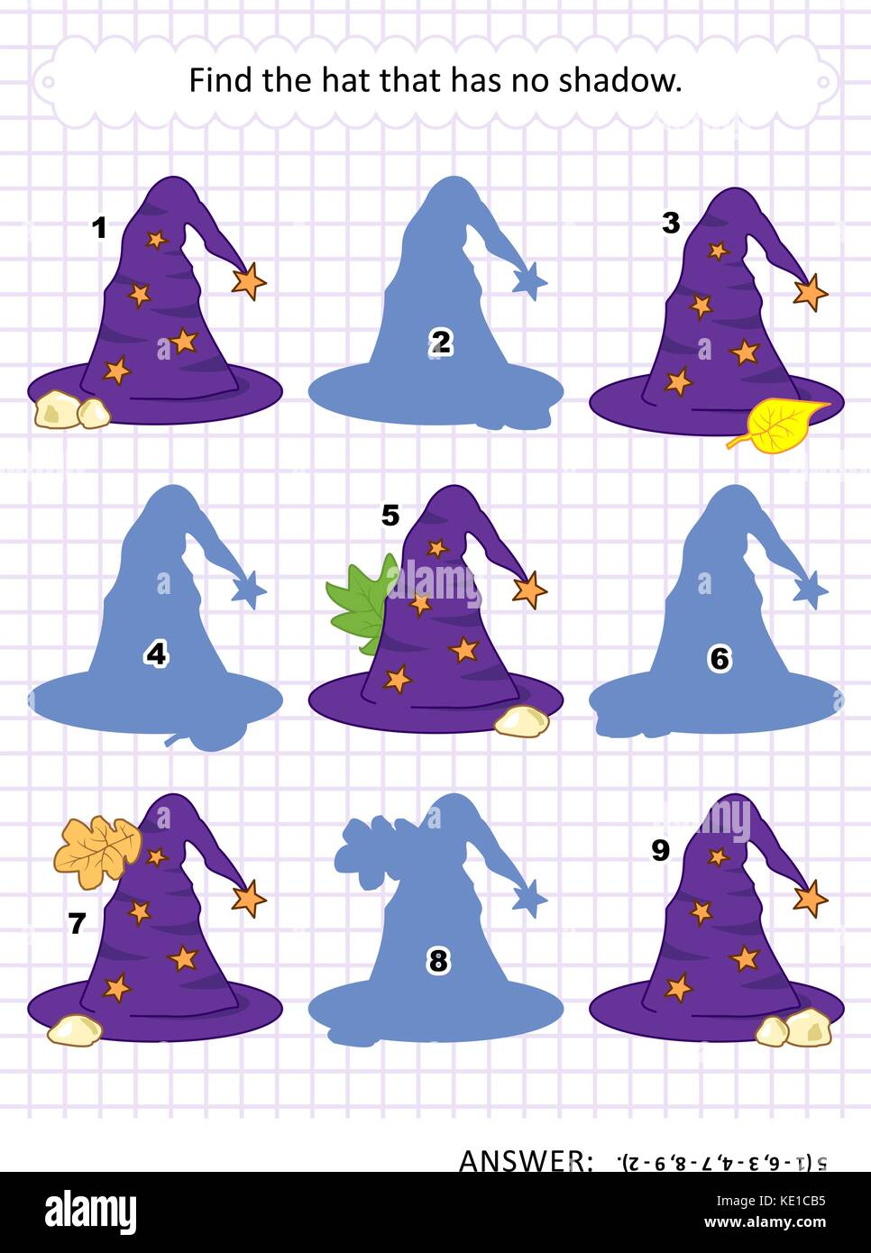 Halloween themed visual puzzle or picture riddle with witch's hat: Find the hat that has no shadow. Answer included. - Stock Image