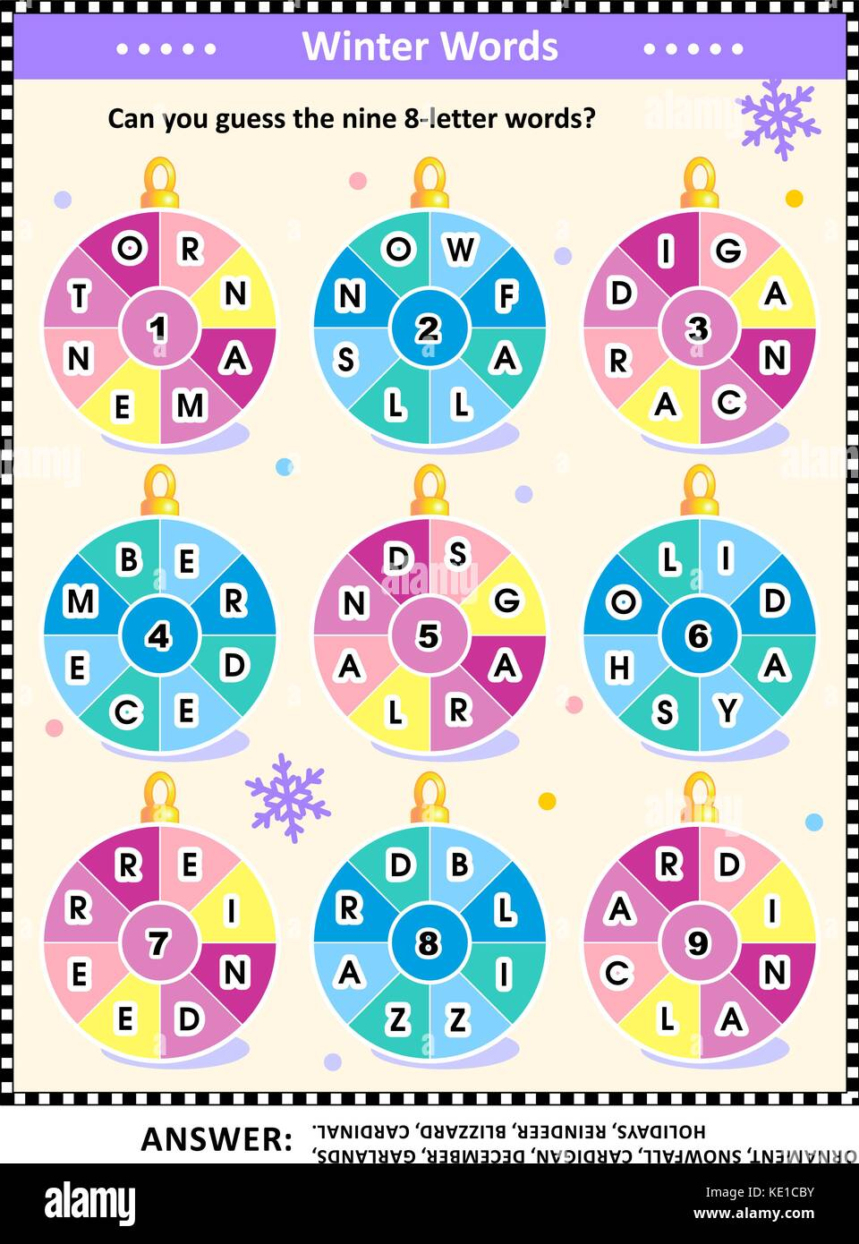 Word puzzle (English language) with winter and holiday words written around the ornaments: Can you guess the nine - Stock Image