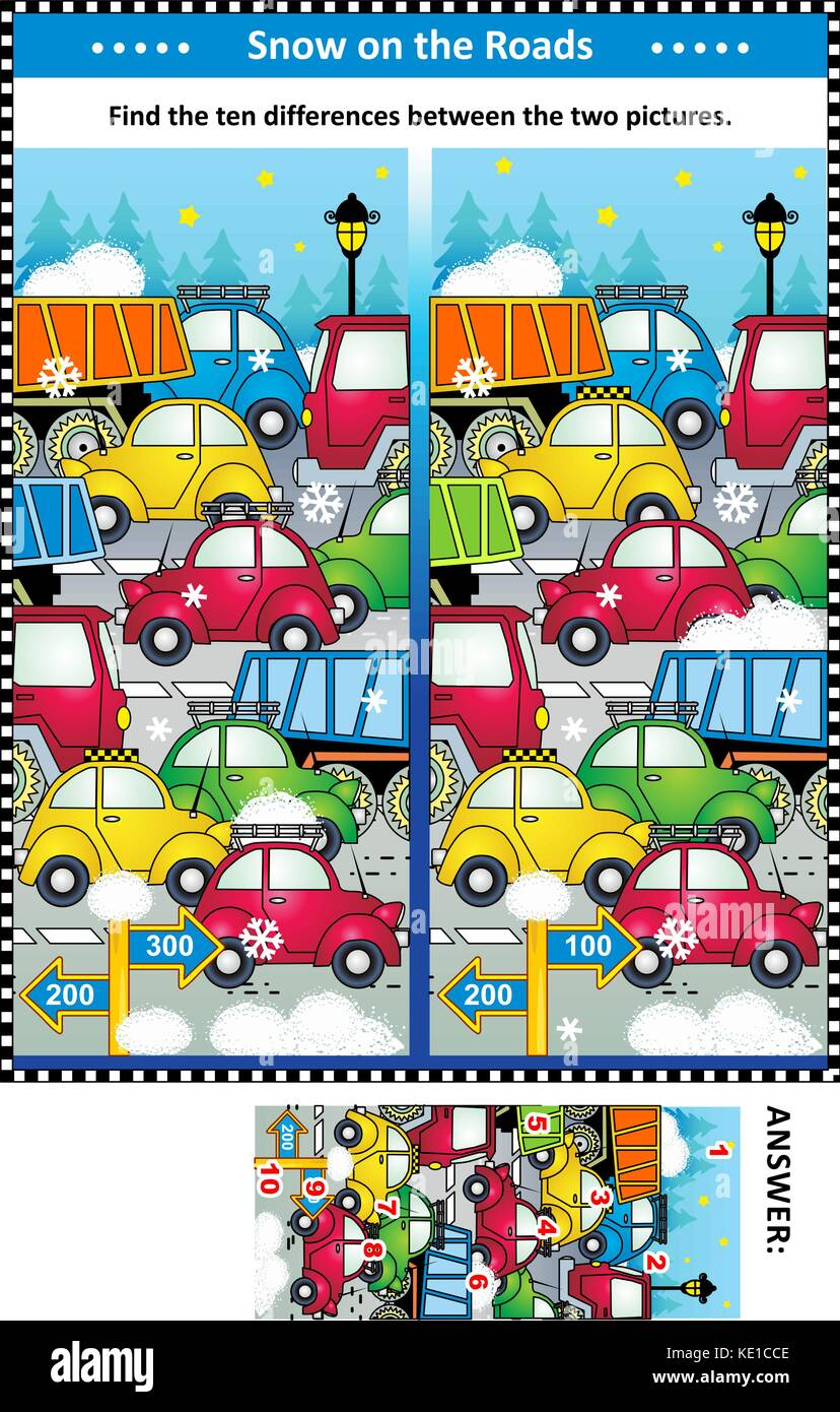 Winter traffic jam picture puzzle: Find the ten differences between the two pictures of cars and trucks on the road. - Stock Image