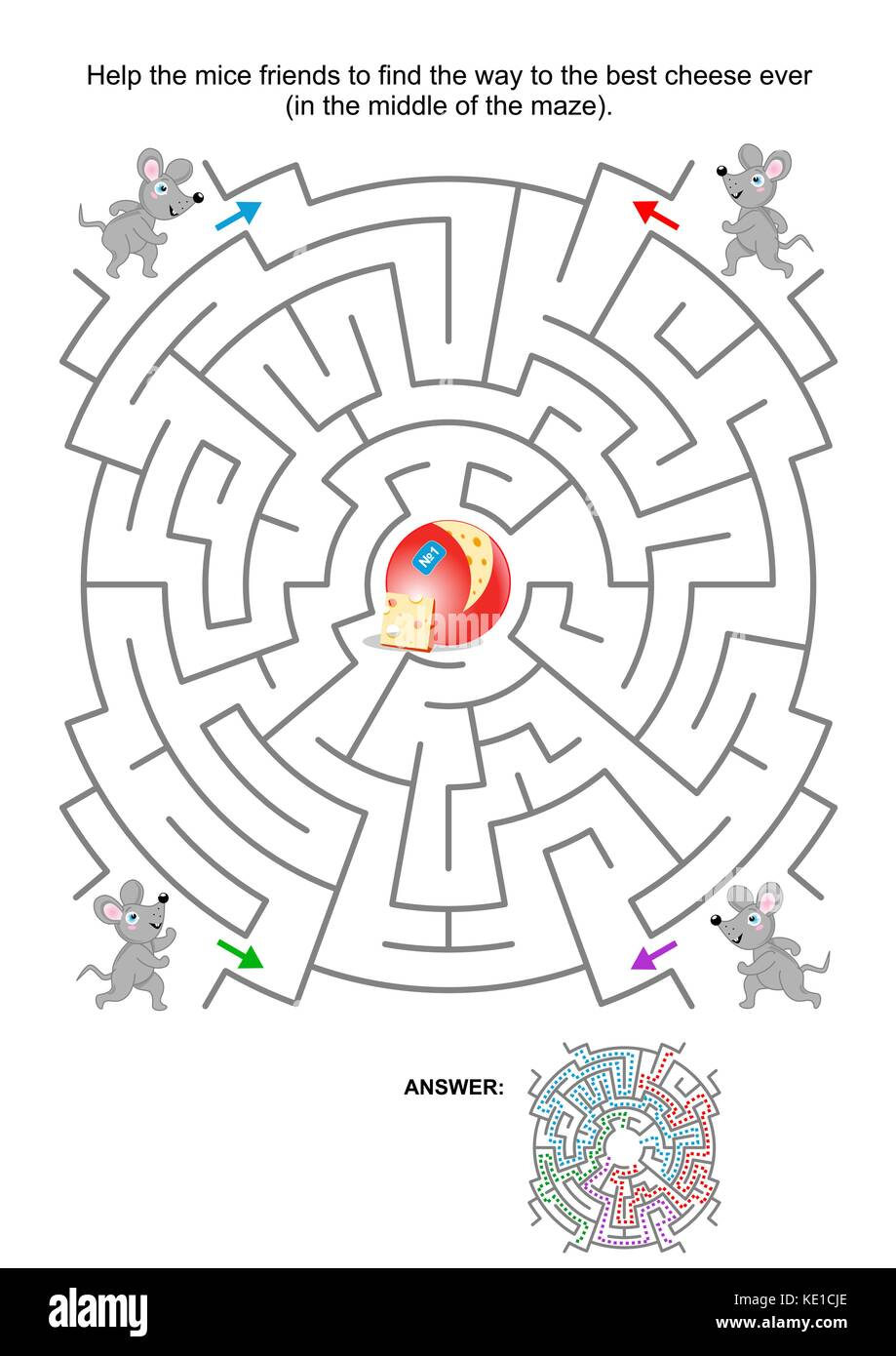 Maze game for kids: Help the mice friends find the way to the best cheese ever. Answer included. - Stock Image