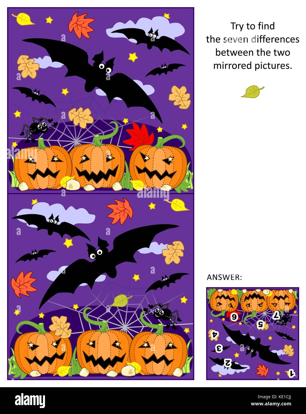 Halloween themed visual puzzle: Find the seven differences between the two mirrored pictures of flying bats, pumpkin - Stock Image