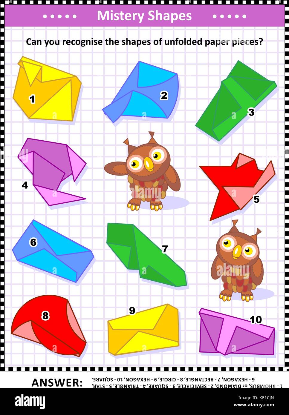 IQ training visual puzzle (suitable both for kids and adults): Can you recognize the shapes of unfolded paper pieces? - Stock Image