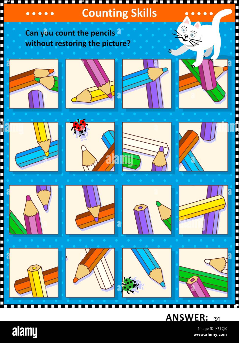 IQ training visual puzzle (suitable both for kids and adults): Can you count the pencils without assembling the - Stock Image