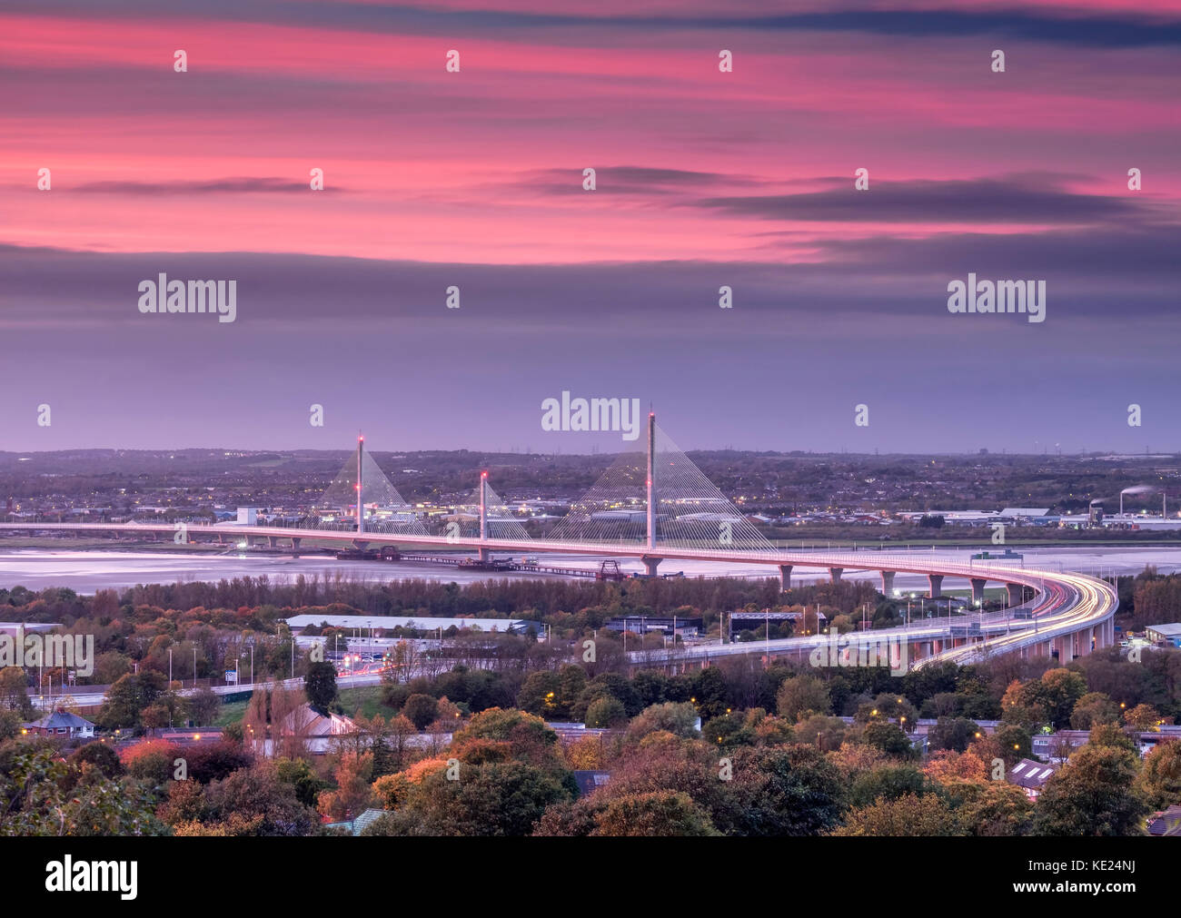 The Mersey Gateway Bridge over the Mersey Estuary between Runcorn and Widnes, Cheshire, England, UK - Stock Image
