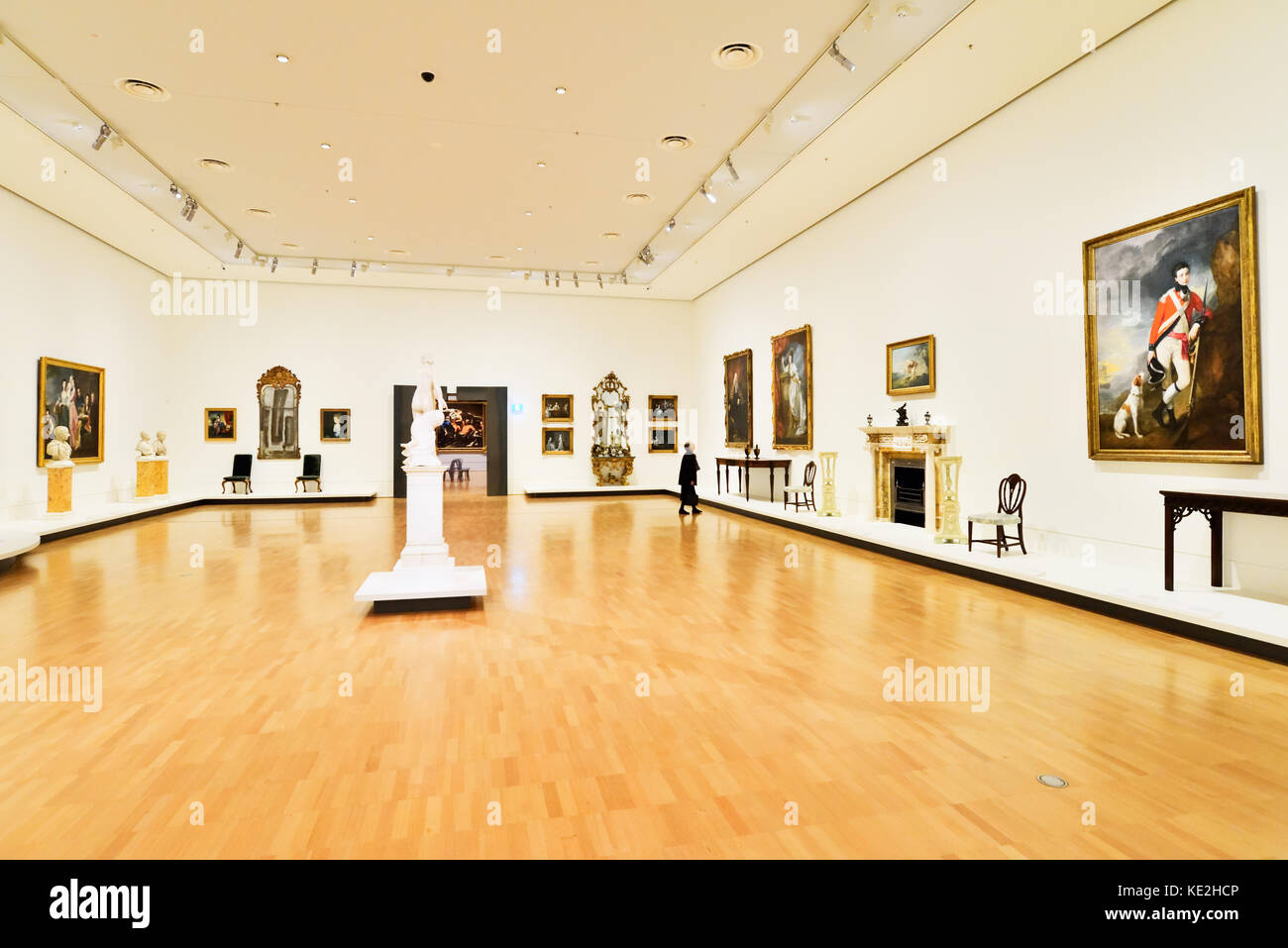 Australia Melbourne. National Gallery of  Victoria International. An exhibition space displaying Victorian era paintings, Stock Photo