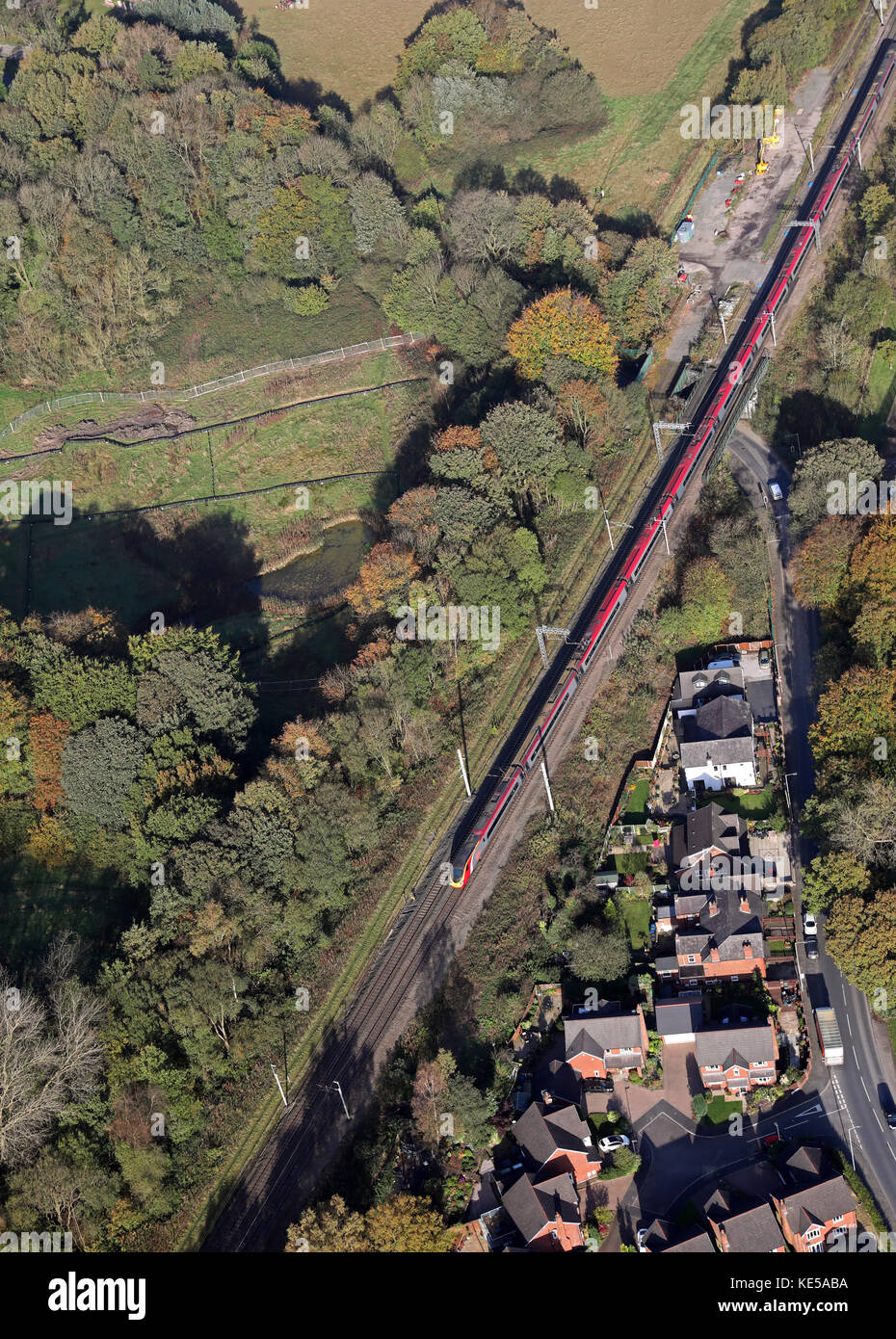 aerial view of a Virgin Trains InterCity train on the West Coast line, England, UK - Stock Image