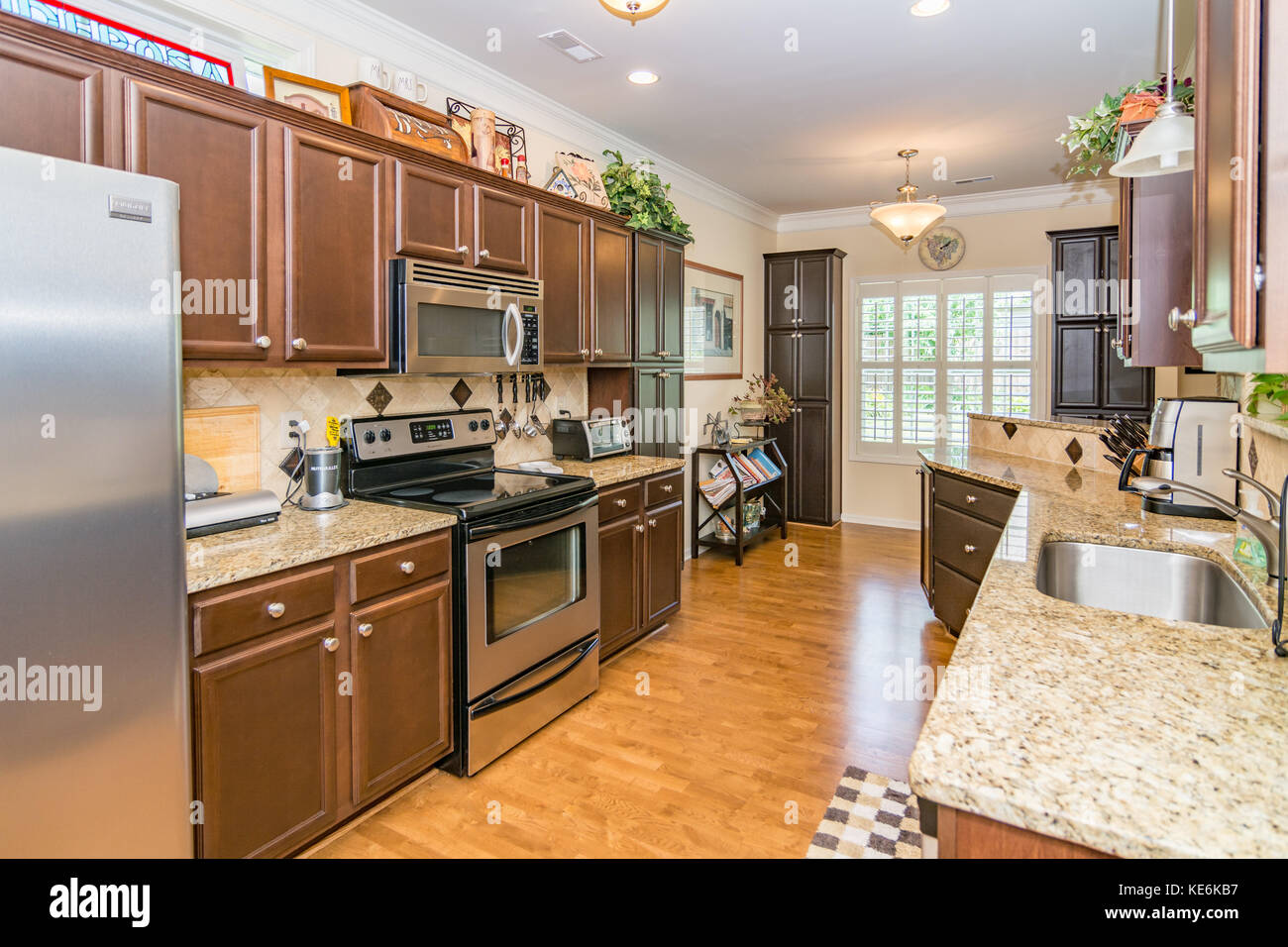 Kitchen Interior Of Middle Class American Home In Kentucky Usa Stock