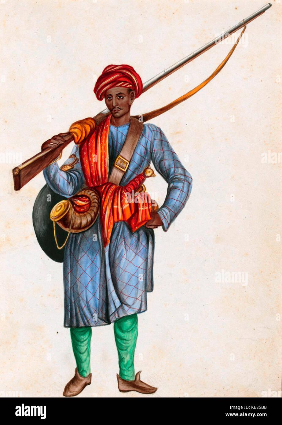 A painting of a Mughal Infantryman, circa 1850 - Stock Image