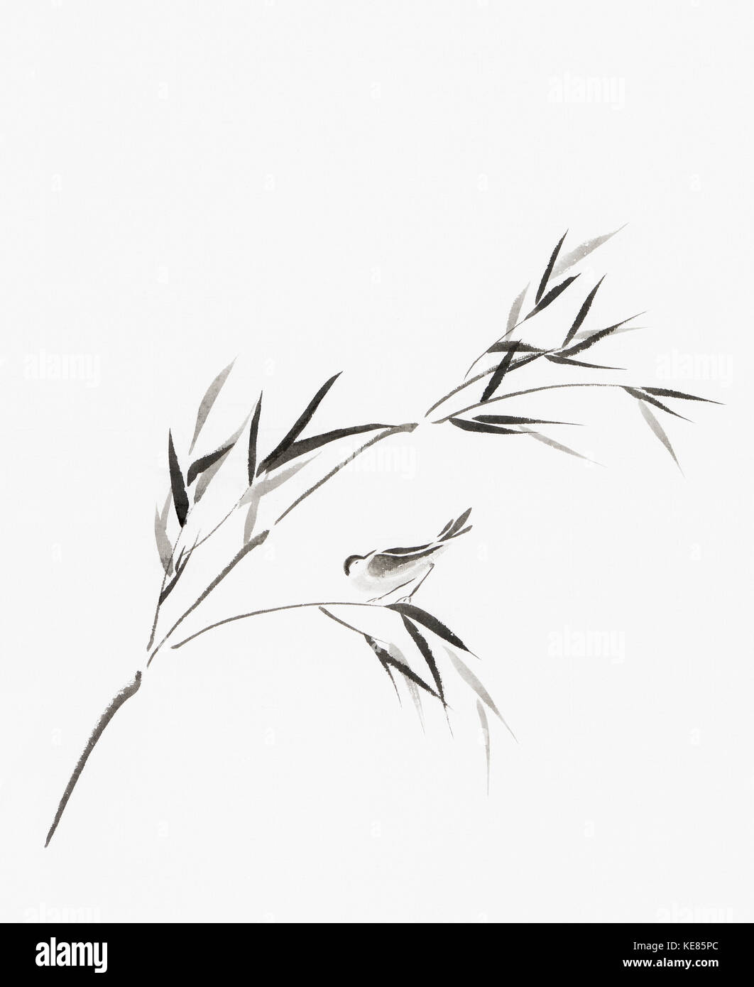 Bird perching on a bamboo branch with leaves artistic oriental style illustration, Japanese Zen Sumi-e ink painting - Stock Image