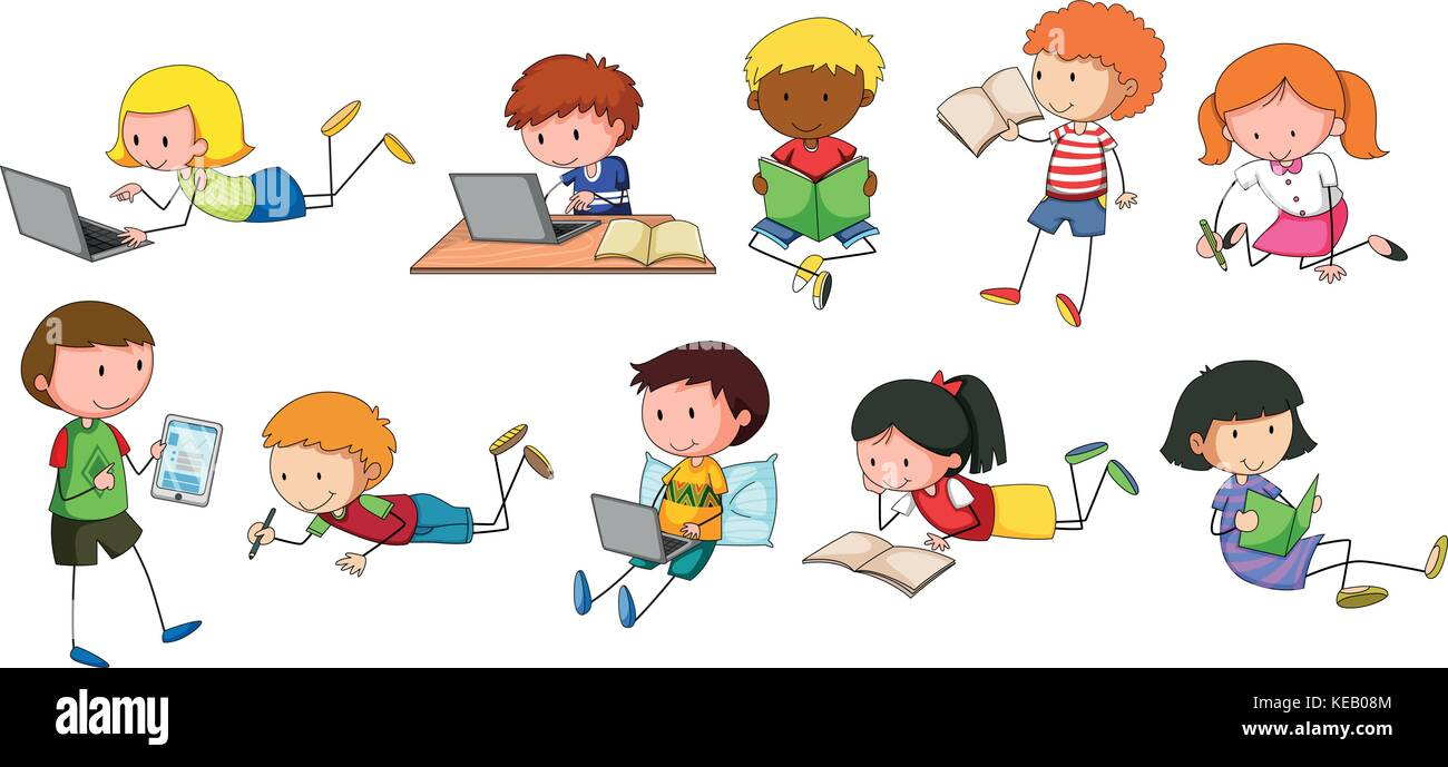 children reading and writing in different styles stock vector art