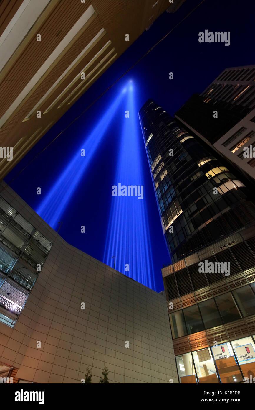 Tribute in Light remembrance of September 11 attacks in New York City - Stock Image