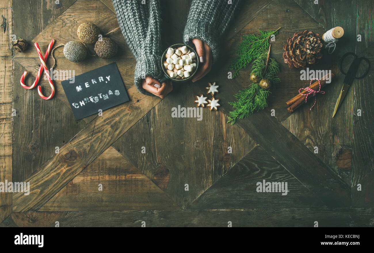 Christmas or New Year holiday background, copy space - Stock Image