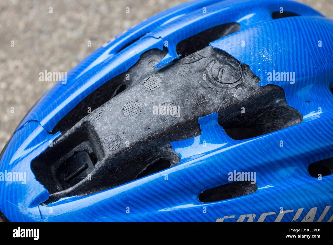 Impact Damaged Cycling Helmet - Stock Image