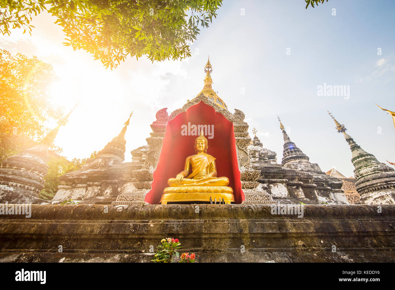 A buddha statue in one of the many Teples in Bangkok, Thailand. - Stock Image