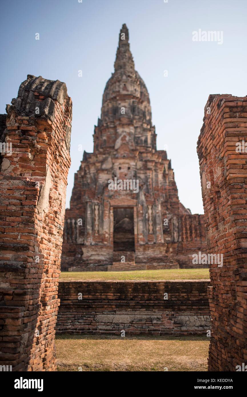 (Selective Focus) Wat Chaiwatthanaram complex in Ayutthaya city, Thailand. - Stock Image