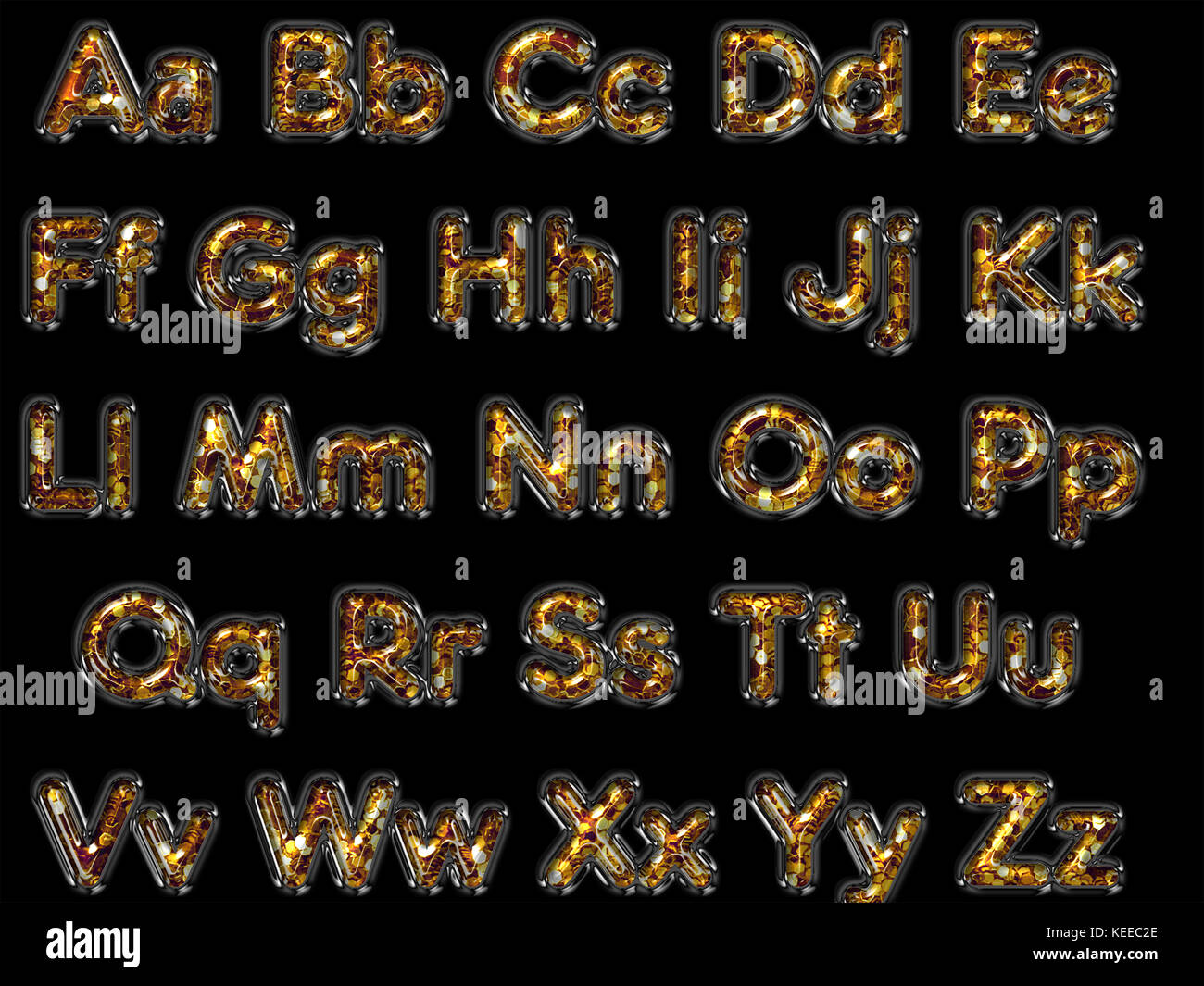 Glitter letters alphabet graphic design - Stock Image