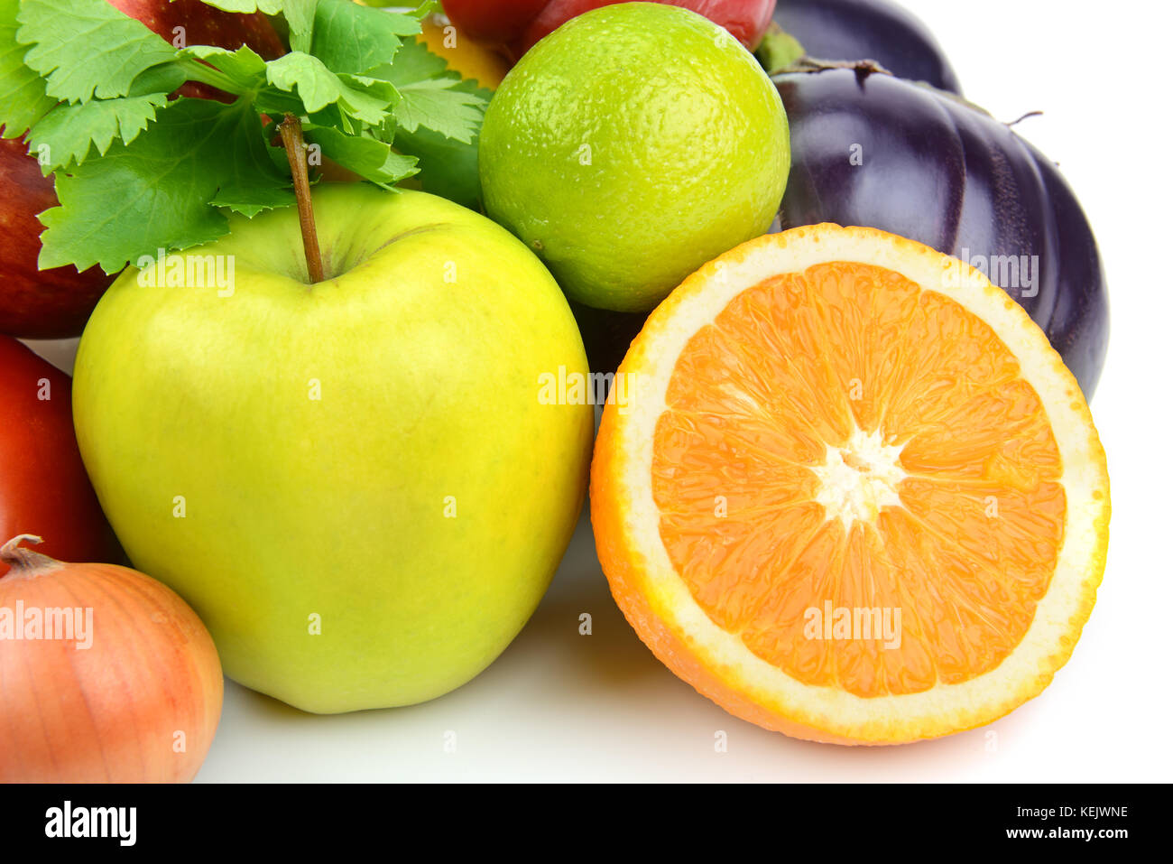 fruits and vegetables on a white background - Stock Image