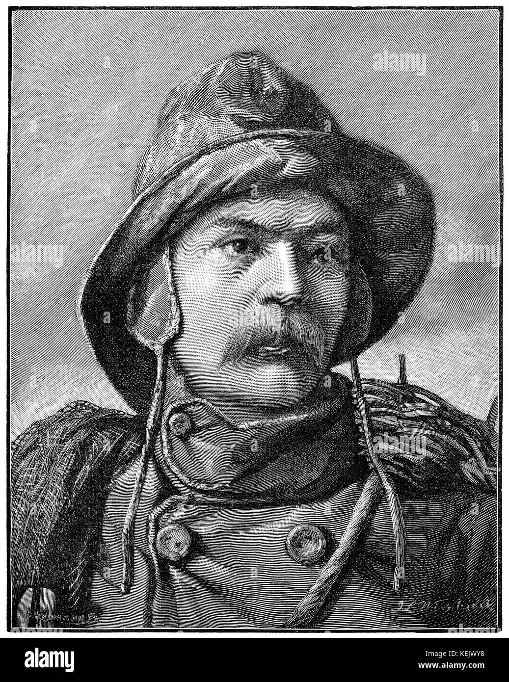 1890 engraving of a fisherman in sou'wester titled 'A Bonnie Fisher Laddie.' Drawing by J.L. Wimbush. - Stock Image