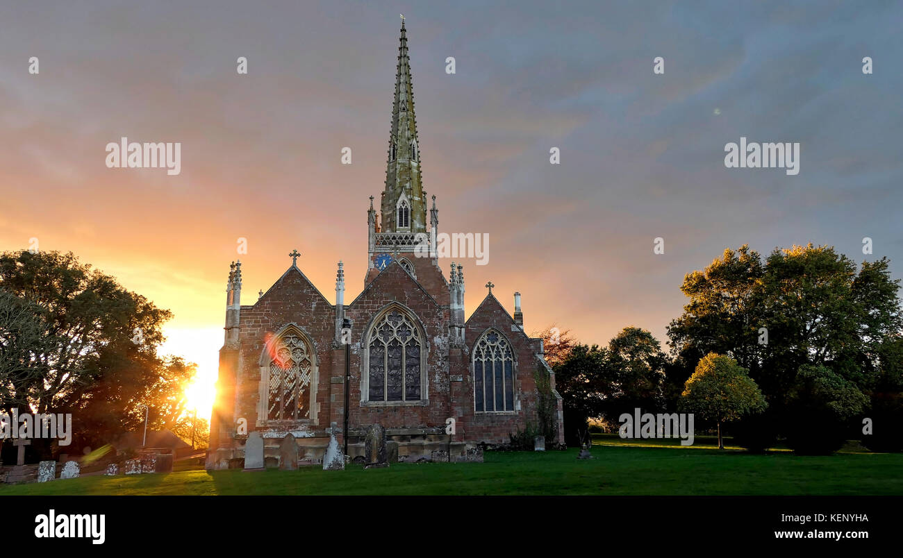 All Saints' Church Braunston, Northamptonshire, UK. 22nd October, 2017. UK Weather: sunset at the Cathedral of the Stock Photo