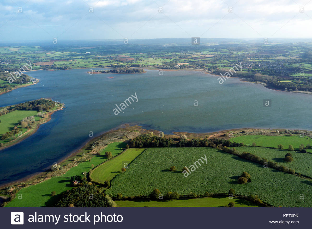 View of Chew Valley Lake, a large reservoir in Somerset, that provides the Bristol area with much of its drinking Stock Photo