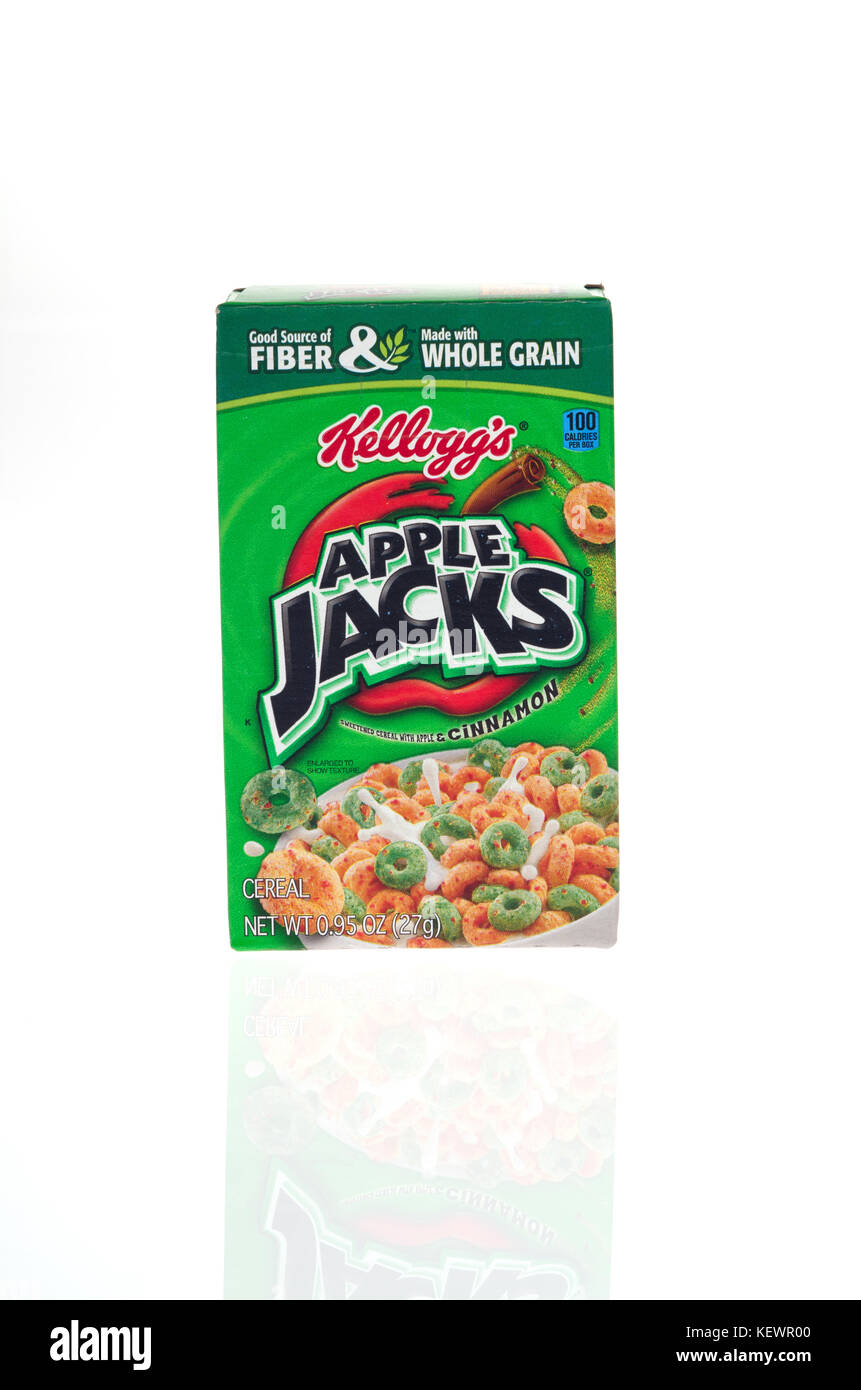 Unopened box of Kelloggs breakfast cereal Apple Jacks on white background, cut out USA Stock Photo