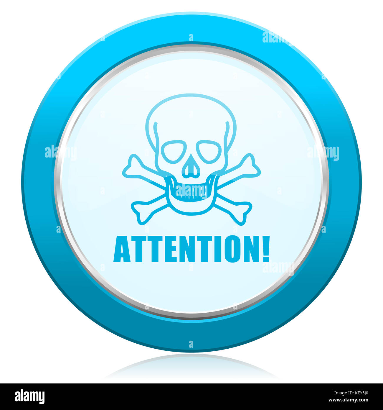 Attention skull blue chrome silver metallic border web icon. Round button for internet and mobile phone application - Stock Image
