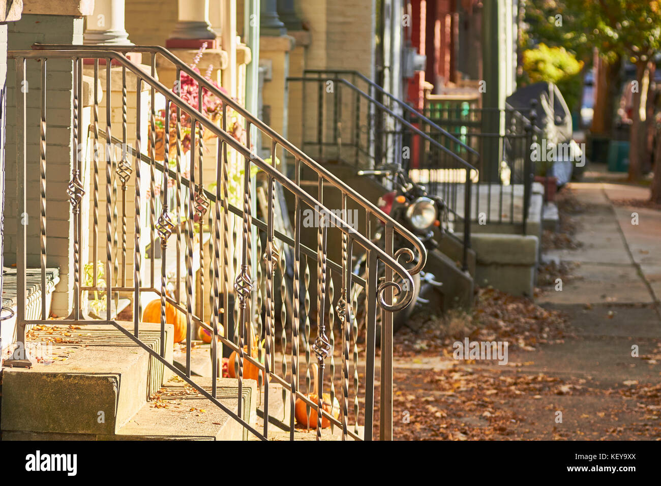 typical street with porches, Lancaster, Pennsylvania, USA Stock Photo