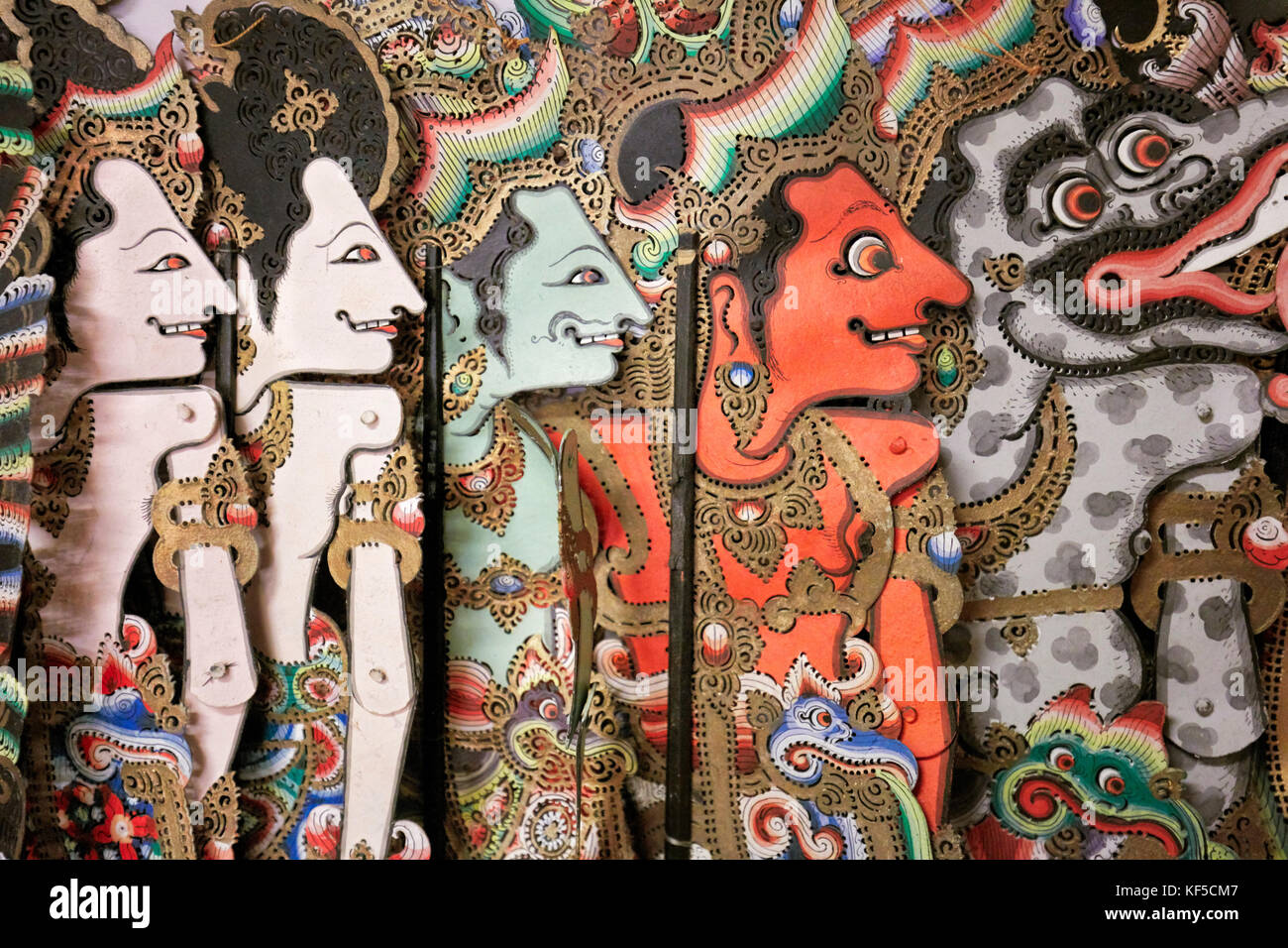 Balinese Shadow Puppets for Mahabharata performance. Setia Darma House of Masks and Puppets, Mas, Ubud, Bali, Indonesia. - Stock Image
