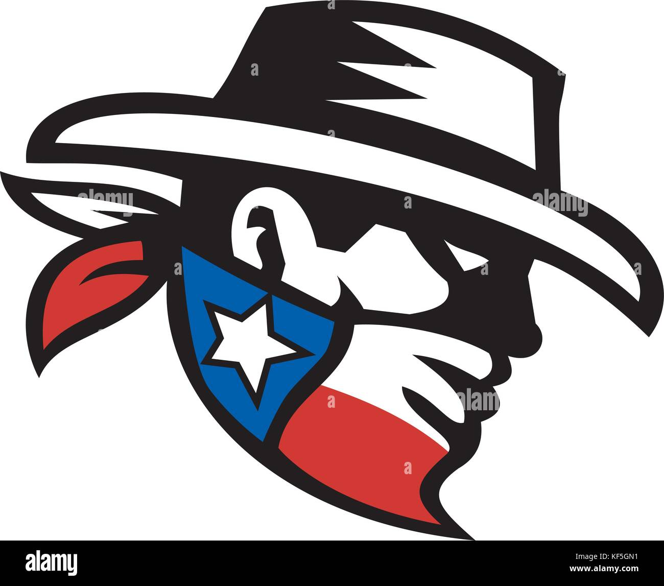 50418e4e114 Icon style illustration of head of a bandit or outlaw wearing a cowboy hat