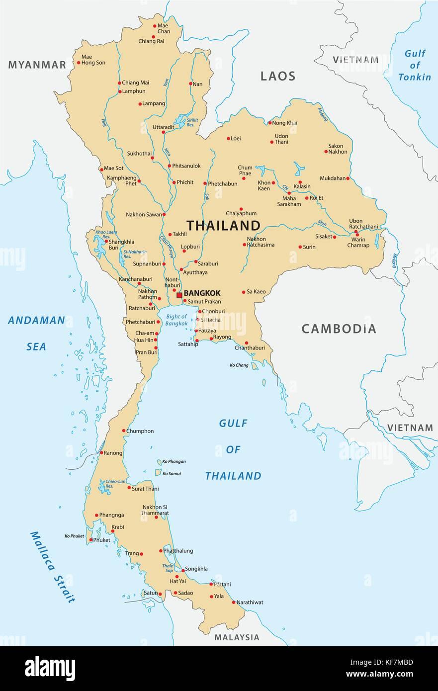 thailand vector map Stock Vector Art & Illustration, Vector Image ...