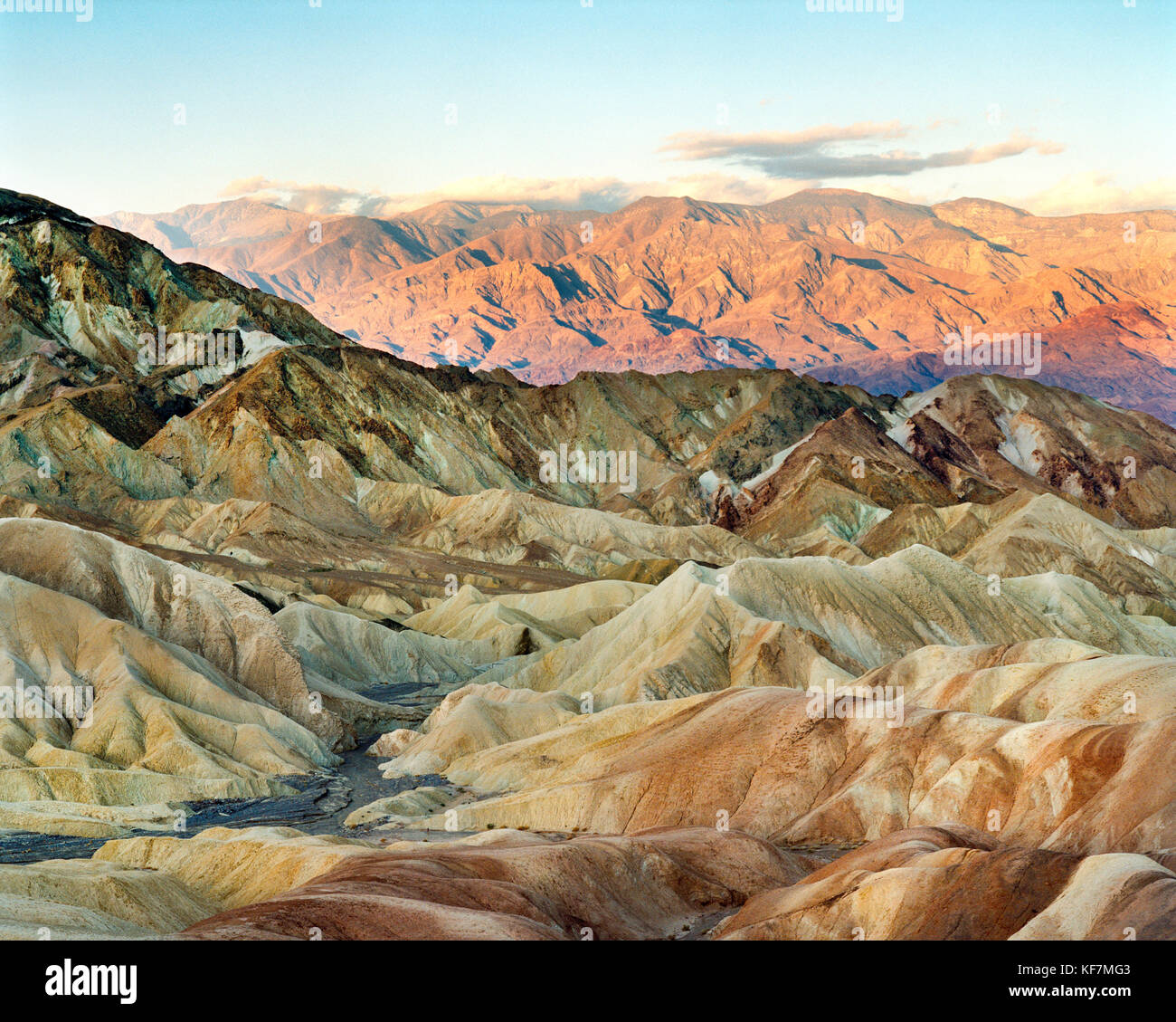 USA, California, view of mountain range from Zabriske Point, Death Valley National Park - Stock Image