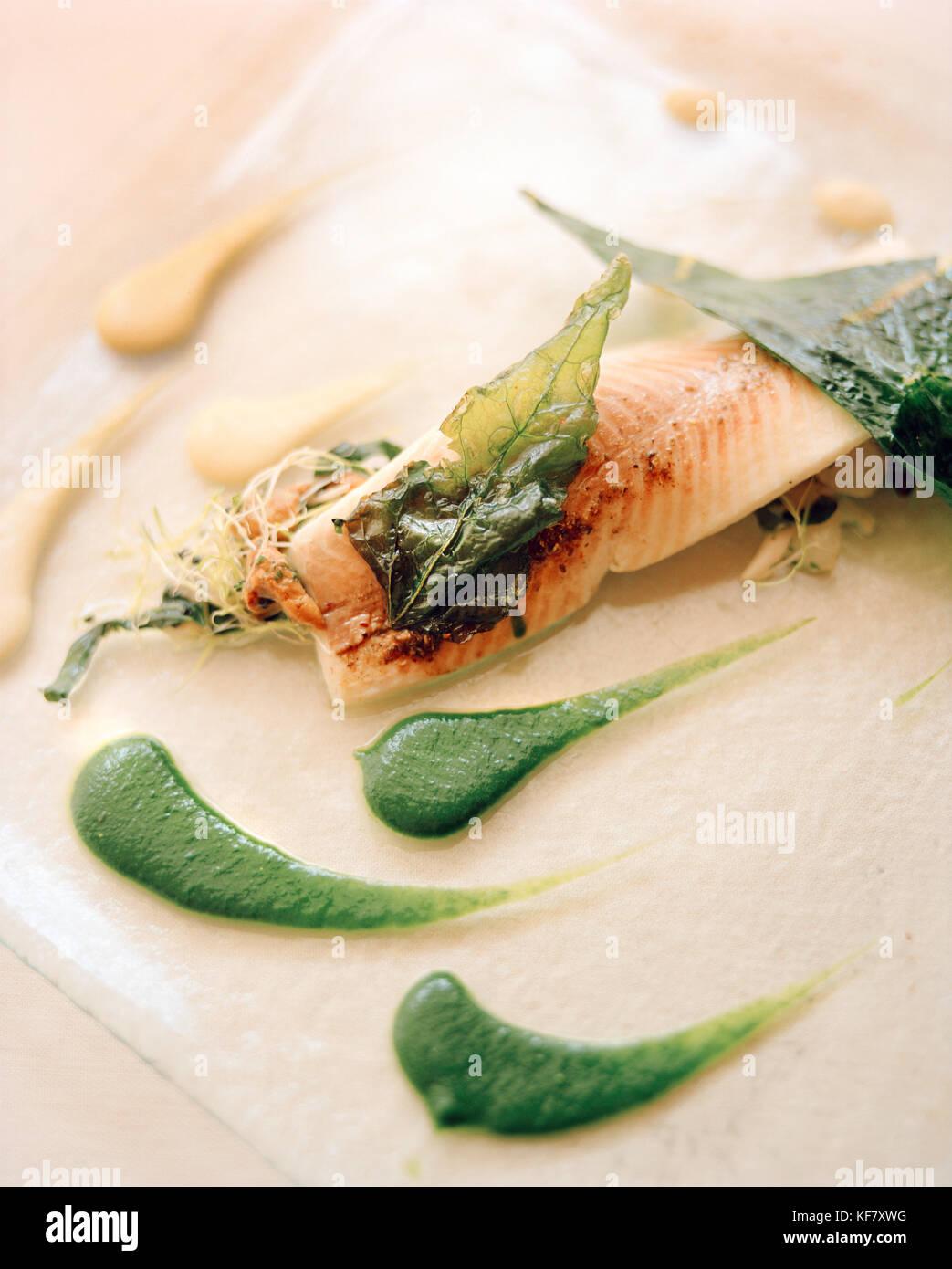 FRANCE, Arbois, a fish dish is served at Jean Paul Jeunet Restaurant, Jura Wine Region - Stock Image