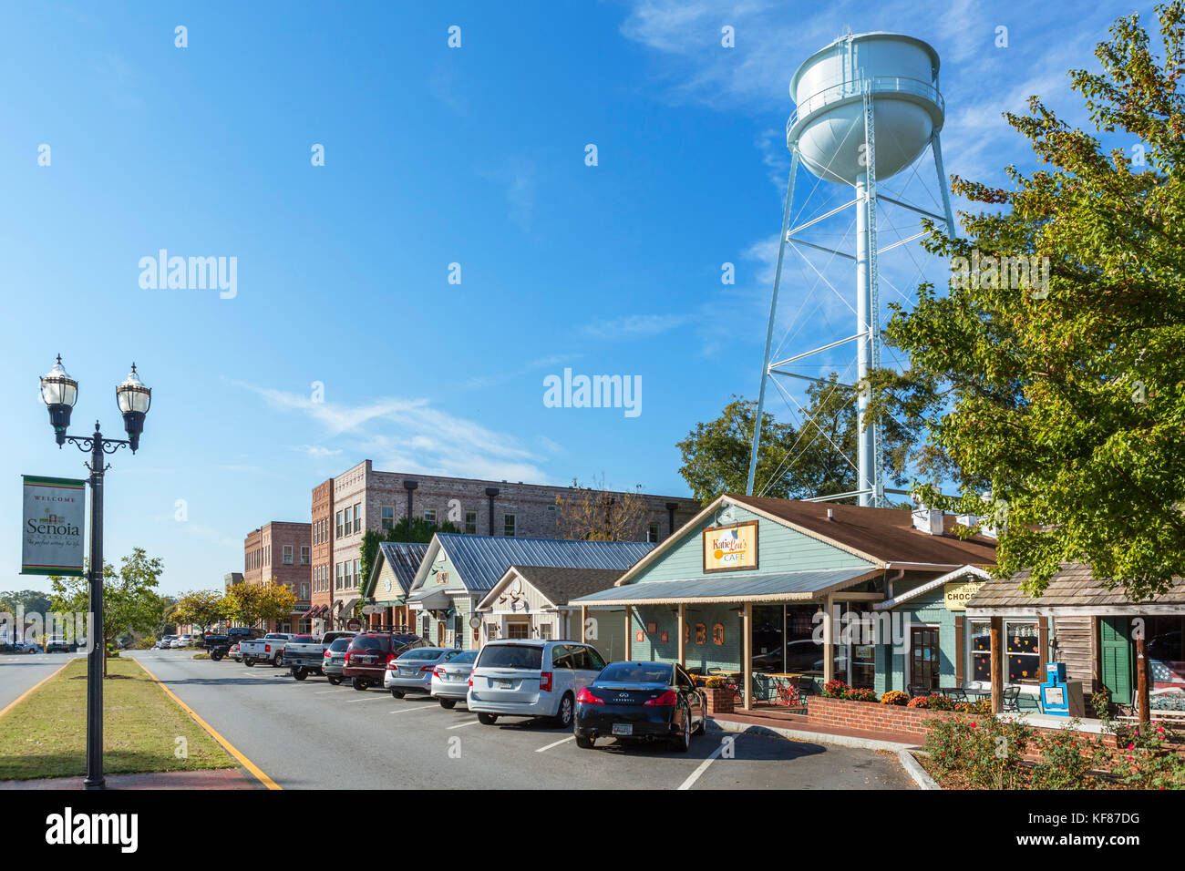 Main Street, Senoia, Georgia, USA. Senoia is the location for the town of Woodbury in the TV series 'The Walking - Stock Image