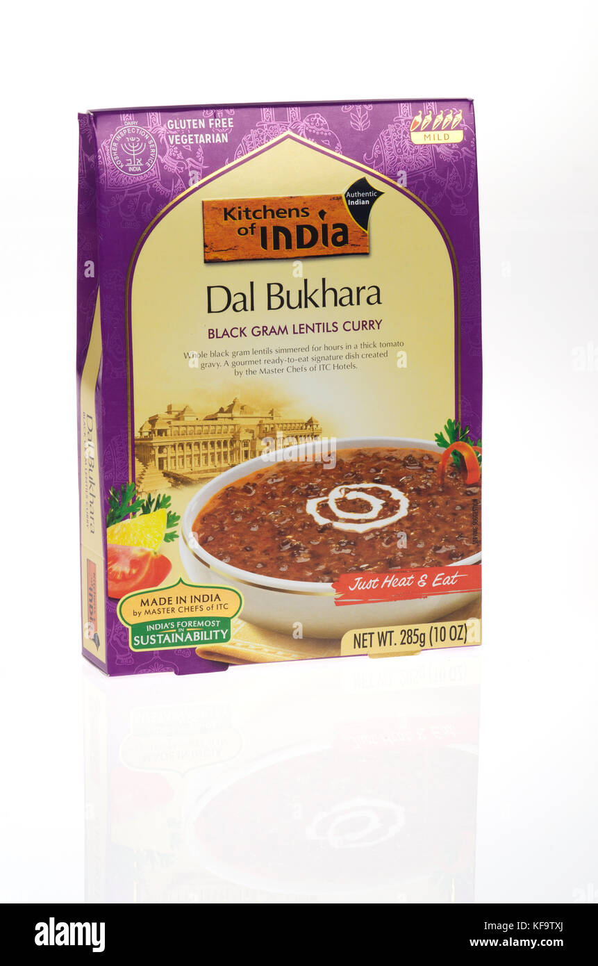 Box of Dal Bukhara Black Gram Lentils Curry readymeal made in India - Stock Image