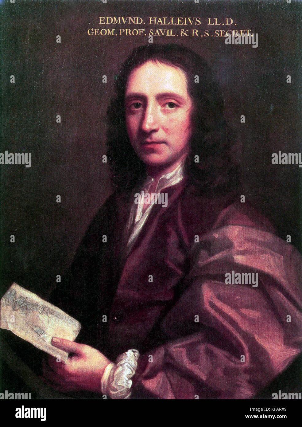 Edmond Halley, Portrait of Edmond Halley 1687 - Stock Image