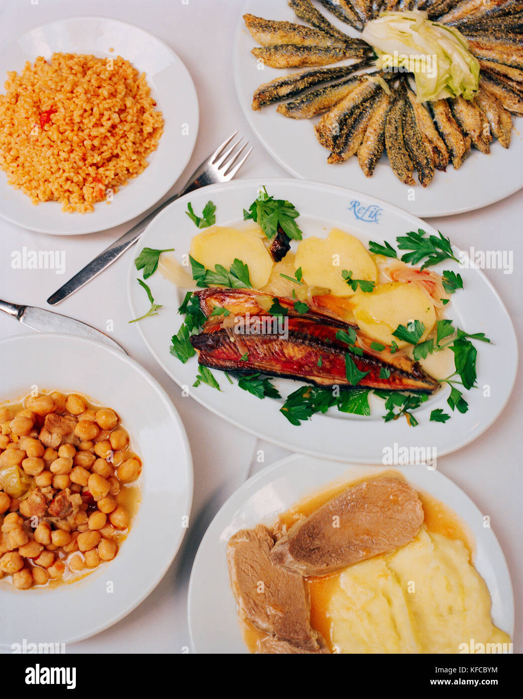TURKEY, Istanbul; top view of Turkish cuisine served at Refik Restaurant. - Stock Image