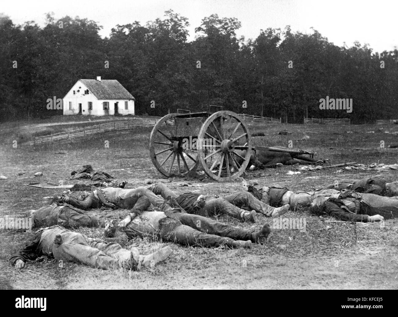 Alexander Gardner's iconic photograph of dead soldiers after the Battle of Antietam in 1862, Sharpsburg, Maryland, - Stock Image