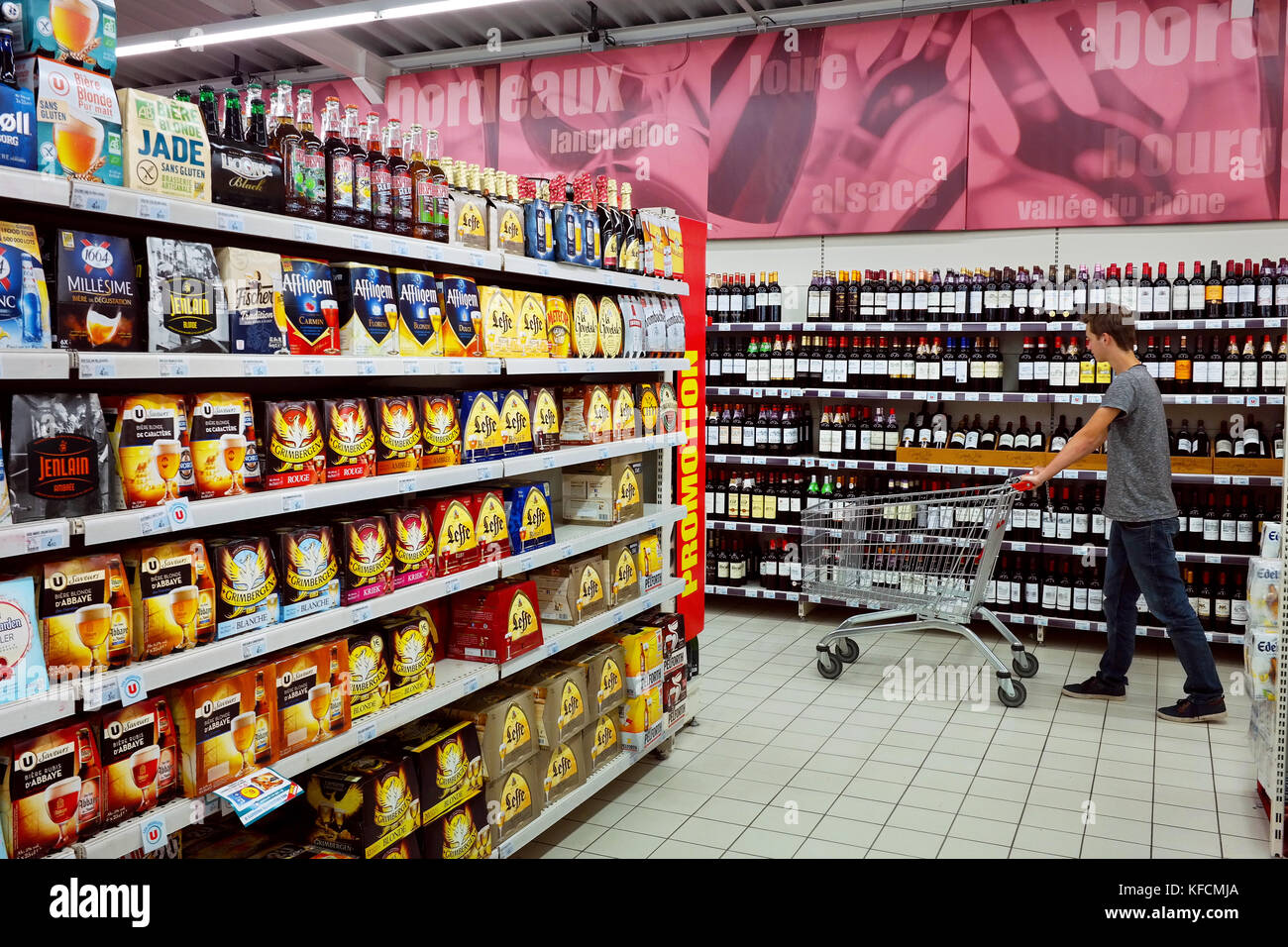 Interior of a Super U Supermarket - Stock Image