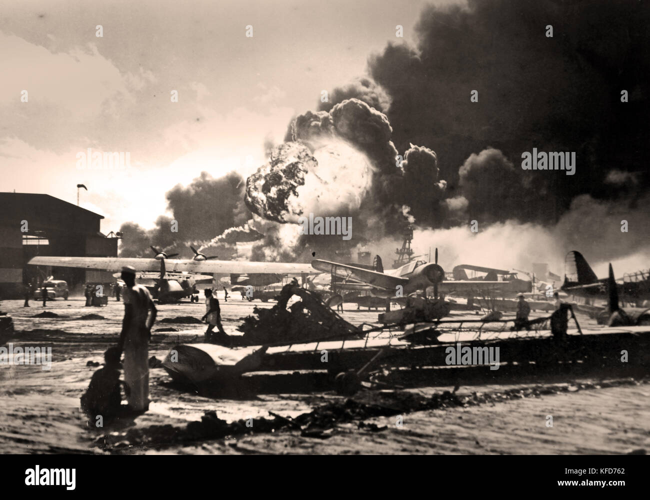 The attack on Pearl Harbor was a surprise military strike by the Imperial Japanese Navy Air Service against the - Stock Image