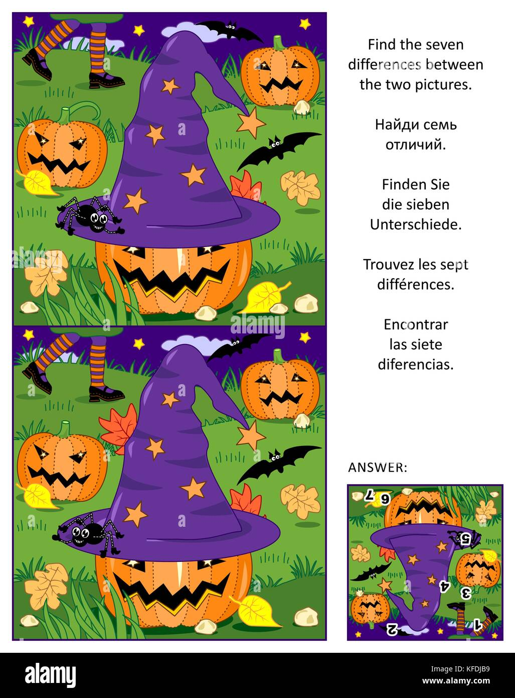 Halloween themed visual puzzle: Find the seven differences between the two pictures of witch hat, pumpkins, bats, - Stock Image