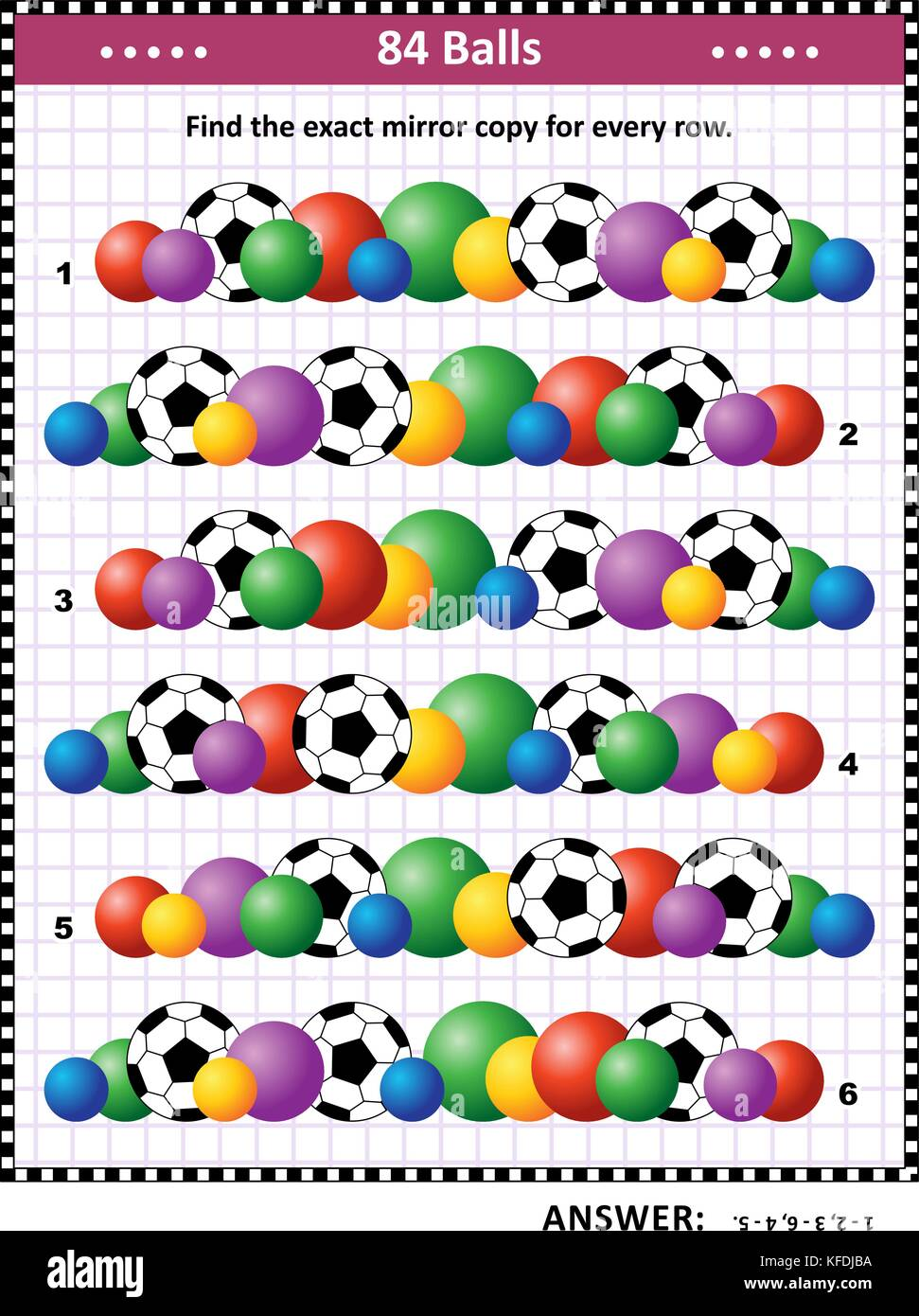 Soccer or football themed IQ training picture puzzle: Match the pairs - find the exact mirror copy for every row - Stock Image