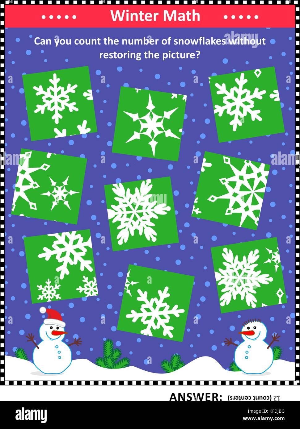 IQ training visual puzzle (suitable both for kids and adults): Can you count the snowflakes without assembling the - Stock Image