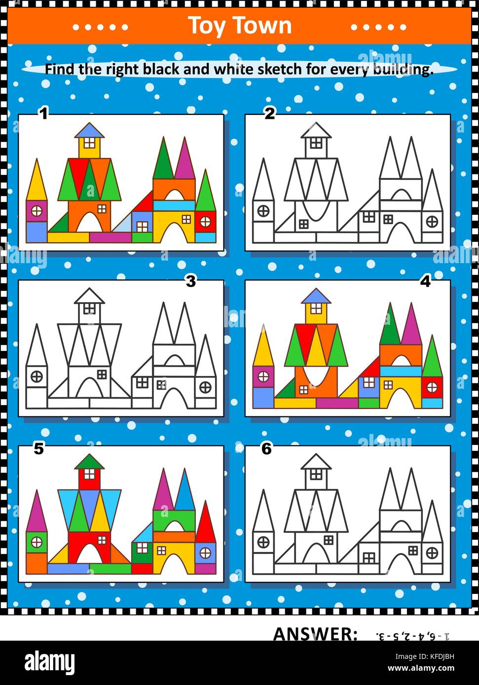Visual puzzle: Find the right black and white sketch for every colorful picture of toy town building. Answer included. - Stock Image