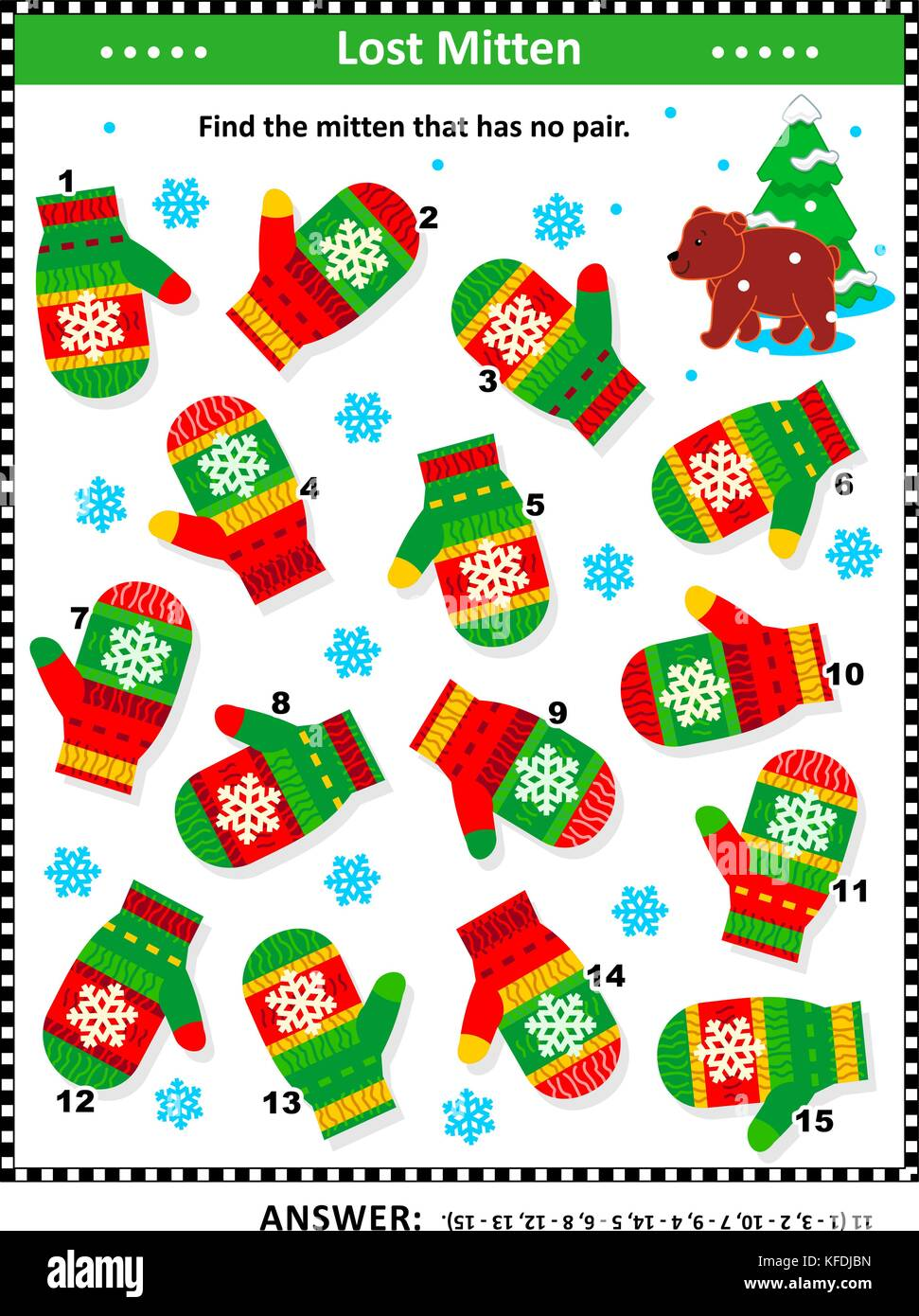 Winter, Christmas or New Year themed visual puzzle (suitable both for kids and adults): Find the mitten that has - Stock Image