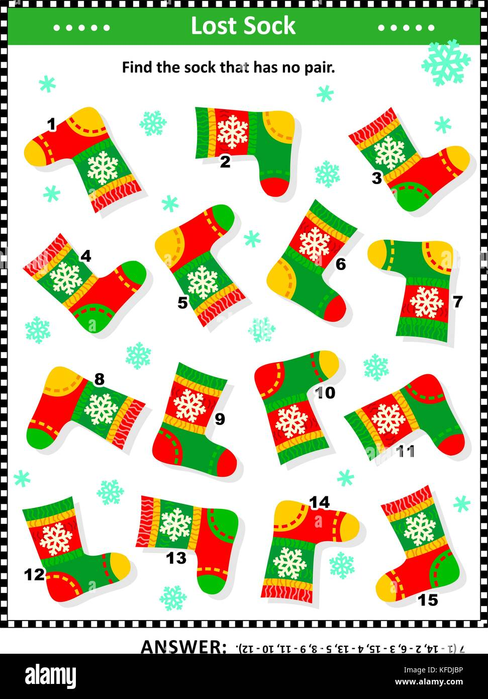 Winter, Christmas or New Year themed visual puzzle (suitable both for kids and adults): Find the sock that has no - Stock Image