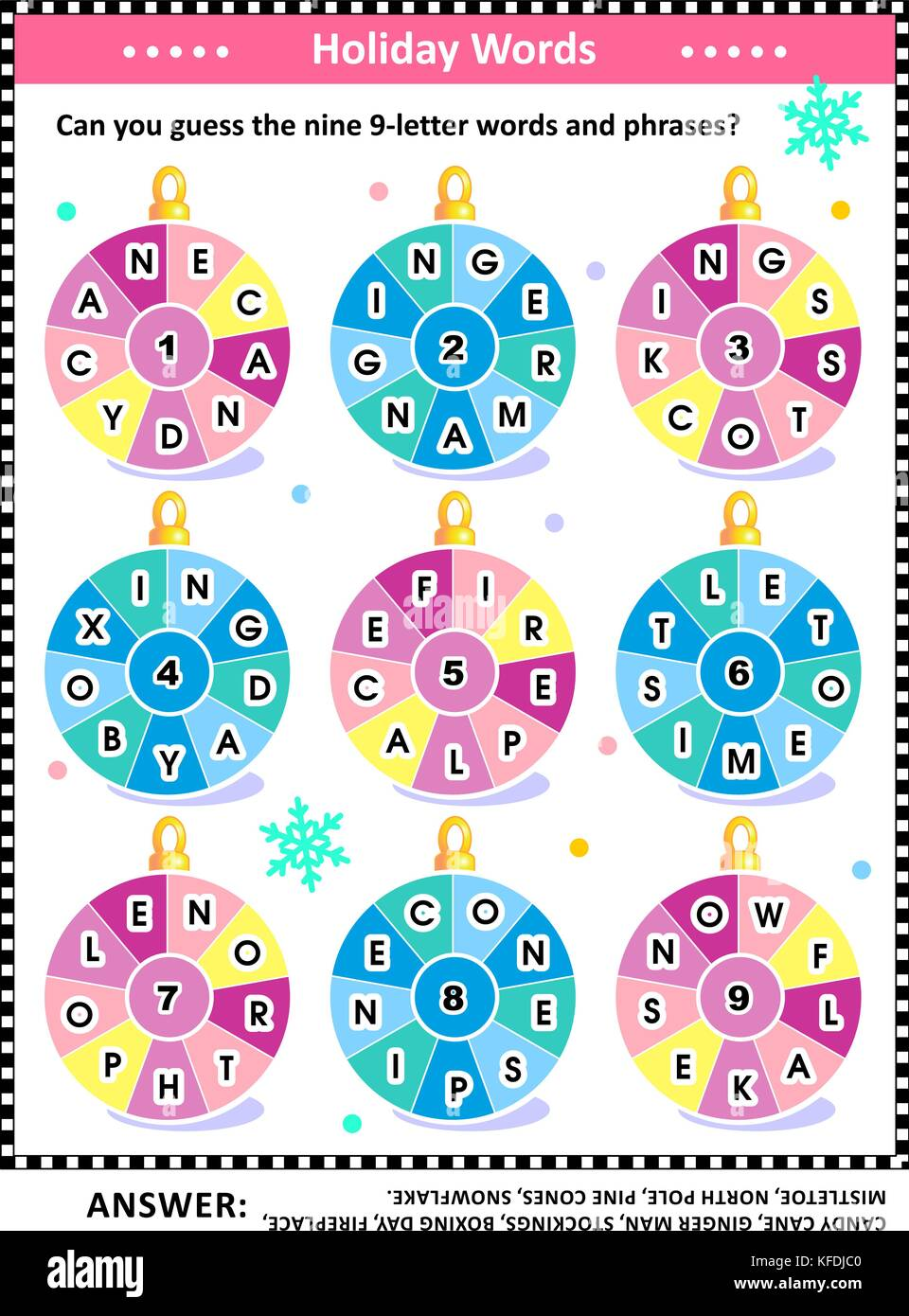 Christmas or New Year word puzzle (English language) with winter and holiday words written around the ornaments: - Stock Image