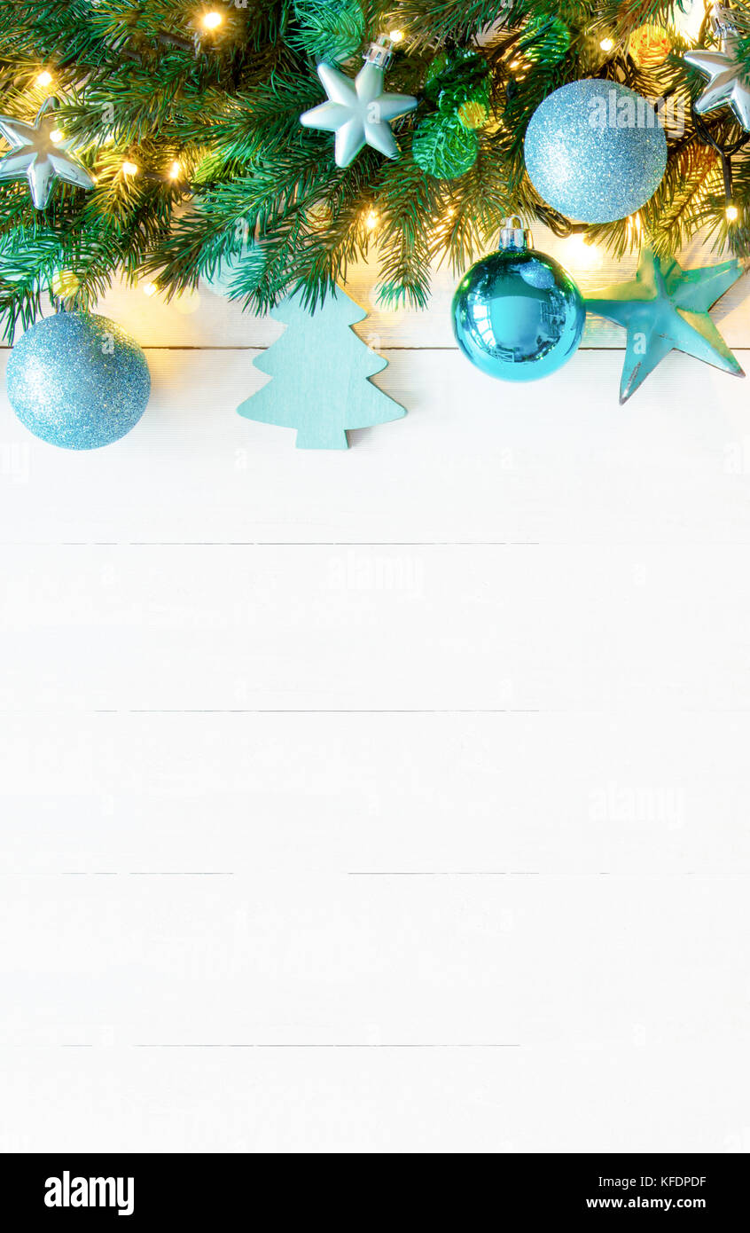 vertical white wooden background with copy space christmas banner
