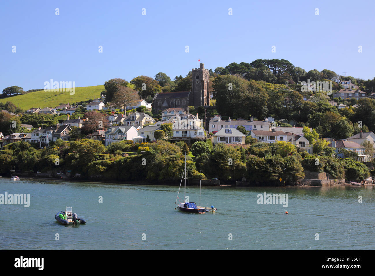 the village of noss mayo on the banks of the river yealm in south devon Stock Photo